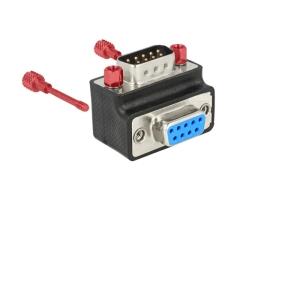 Adapter Sub-D 9 pin (M) - Sub-D 9 pin (F), 270° nurgaga, kruvikinnitusega