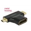Konverter HDMI Mini-C / Micro-D (M)  - HDMI-A (F)