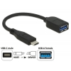 Üleminek USB-C (M) - USB 3.1 A (F) 0.1m, must, Premium (Gen2-10Gb)
