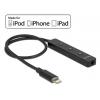 Audio adapter: 8 pin Lightning (M) - 3.5mm stereo (F) puldiga, toetab iPhone 7 / 7 Plus / 6 / 6 Plus / 5 / 5C / 5S, iPod Touch 5, iPod nano 7, must