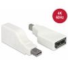 Üleminek Mini DisplayPort (M) - DisplayPort (F), 90° nurgaga, valge