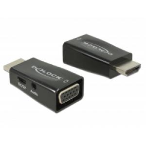 Konverter HDMI (M) - VGA (F) + 3.5mm (F), USB Micro B (F), 2K@60Hz, must