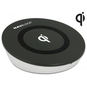 Juhtmevaba USB laadimisalus (Qi standard), 4.75 - 5V / 0.1 - 1.0A, must