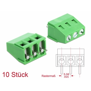 Terminal block PCB 3 pin 5.08mm, -40°C-105°C, jo...