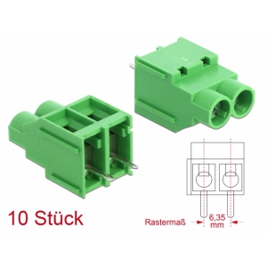 Terminal block PCB 2 pin 6.35mm, -40°C-105°C, jo...
