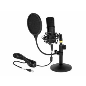 Kondensaator Mikrofon USB 2.0 - teleskoop jalaga, must, sobib ka Macidele