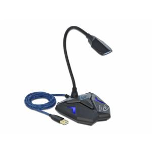 Mikrofon USB 2.0 - mute nupuga, LED, painduva kaelaga, 3.5mm kõrvaklapide jaoks, must