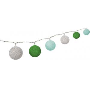 LED valguspallid, puuvillanöörist, patareideg, (valge, mint, rohuroheline)