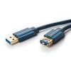 USB 3.0 pikenduskaabel A - A 1.8m, kullatud, OFC, topeltvarjega, tumesinine