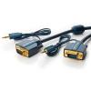 VGA + Audio 3.5mm kaabel 5.0m, kullatud, OFC, topeltvarjega, 1600p, tumesinine
