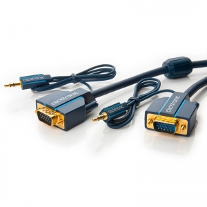 VGA + Audio 3.5mm kaabel 7.5m, kullatud, OFC, topeltvarjega, ferriitidega, 1600p, tumesinine