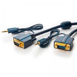 VGA + Audio 3.5mm kaabel 10.0m, kullatud, OFC, topeltvarjega, 1600p, tumesinine