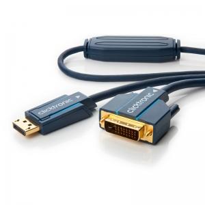 Displayport - DVI-D kaabel 3.0m, kullatud, OFC, topeltvarjega (sign suund DP > DVI-D), tumesinine