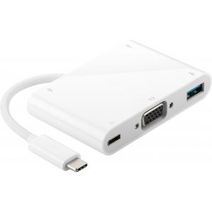 Konverter USB-C (M) - VGA (F), 2x USB 2.0 A (F), USB 3.0 A (F), USB C laadimiseks, valge,1080p@60Hz