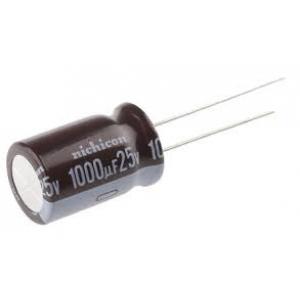 Elektrolüütkondensaator 1000uF 25V 12x20mm 105C 7000h Nichicon PW seeria