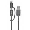 USB 2.0 kaabel A C + micro B, must, 480 Mbit/s