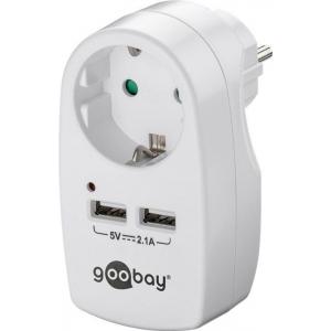 USB laadija,  230V - 2xUSB (2.1A), pistiku pesa, (16A, 3500W), valge