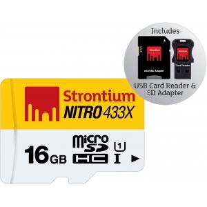 Mälukaart Nitro Micro SDHC 16GB, Class10 UHS-I + USB-kaardilugeja ja SD adapter