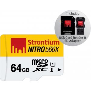 Mälukaart Nitro Micro SDXC 64GB, Class10 UHS-I + USB-kaardilugeja ja SD adapter