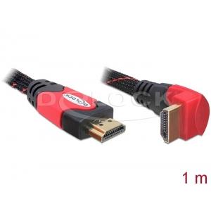 HDMI kaabel 1.0m, ethernet, 4K 4096x2160@24 Hz / 3840x2160@30Hz, 1x90° nurgaga, punane