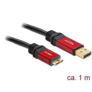 USB 3.0 kaabel A - Micro B 1.0m, kullatud metall kestaga, premium