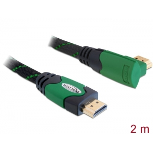 HDMI kaabel 2.0m, ethernet, 4K 4096x2160@24 Hz / 3840x2160@30Hz, 1x90° nurgaga, roheline