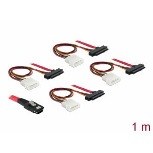 Mini SAS kaabel 0.5m (SFF-8087 - SFF-8482), 1.0m toitekaabel, must
