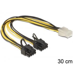 Toitekaabel PCIe 6 pin (F) - 2x PCIe 8 (6+2) pin, 20 AWG, 0.3m