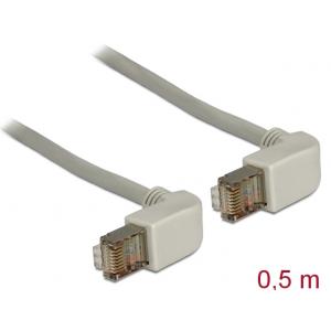 Võrgukaabel Cat5e S/FTP 0.5m, hall, (2x90° nurgaga üles), LSZH, CU