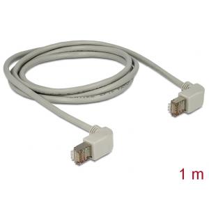 Võrgukaabel Cat5e S/FTP 1.0m, hall, (2x90° nurgaga üles), LSZH, CU