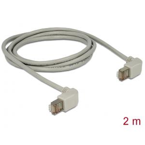 Võrgukaabel Cat5e S/FTP 2.0m, hall, (2x90° nurgaga üles), LSZH, CU