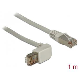 Võrgukaabel Cat5e S/FTP 1.0m, hall, (1x90° nurgaga üles), LSZH, CU