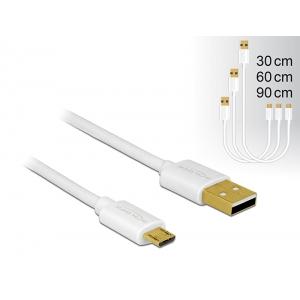 USB 2.0 kaabel A - Micro B 0.3m, 0.6m, 0.9m, kiirlaadija, valge