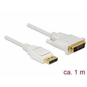 Displayport - DVI-D Dual Link kaabel 1.0m, valge