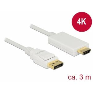 DisplayPort - HDMI kaabel 3.0m, 4K 3840x2160@30Hz, valge (sign suund DP > HDMI)