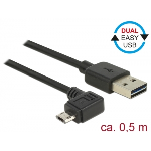 USB 2.0 kaabel A - Micro B 90 kraadise nurgaga vasakule 0.5m, Easy USB, must