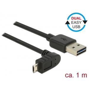 USB 2.0 kaabel A - Micro B 90 kraadise nurgaga üles 1.0m, Easy USB, must
