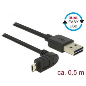 USB 2.0 kaabel A - Micro B 90 kraadise nurgaga üles 0.5m, Easy USB, must