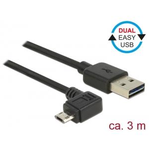 USB 2.0 kaabel A - Micro B 90 kraadise nurgaga vasakule 3.0m, Easy USB, must