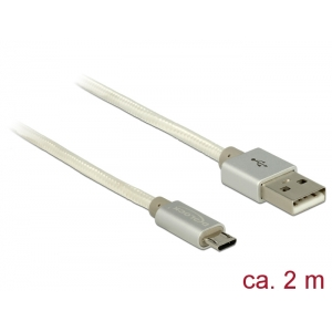 USB 2.0 kaabel A - Micro B 2.0m, valge, tekstiilist kattega