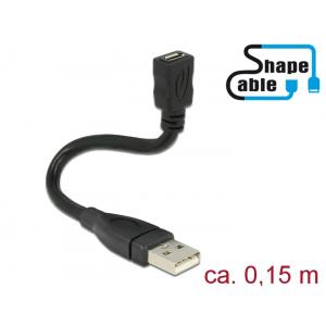 Üleminek USB 2.0 A (M) - USB 2.0 Micro B (F) 0.15m