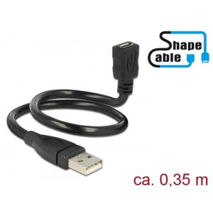 Üleminek USB 2.0 A (M) - USB 2.0 Micro B (F) 0.35m