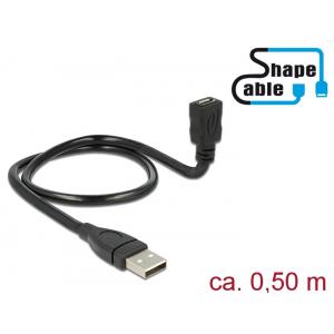 Üleminek USB 2.0 A (M) - USB 2.0 Micro B (F) 0.5m