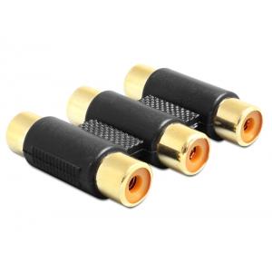 Adapter 3xRCA (F) -(F), plastik, kullatud kontaktidega