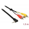 Üleminek 3.5mm 4pin (M) - 3 x RCA (M) 1.5m (GND - Video - Audio left - Audio right) must