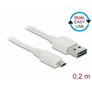 USB 2.0 kaabel A - Micro B 0.2m, EASY-USB, valge