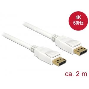 DisplayPort kaabel 2.0m, 3840x2160@60Hz, DP 1.2, valge