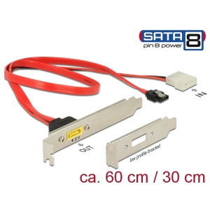 Slot bracket SATA 6 Gb/s 7 pin receptacle + Molex 2 pin power plug internal - SATA male pin 8 power external