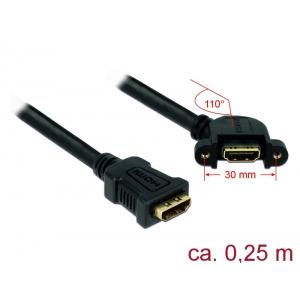 HDMI pikenduskaabel paneelile HDMI-A (F) - HDMI-A (F), 4K 30Hz, 0.25m, must, 110° nurgaga