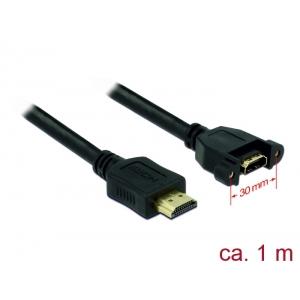 HDMI pikenduskaabel paneelile HDMI-A (M) - HDMI-A (F), 4K 30Hz, 1.0m, must